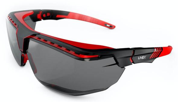 Uvex Avatar OTG Safety Glasses with Black/Red Frame and Gray Lens