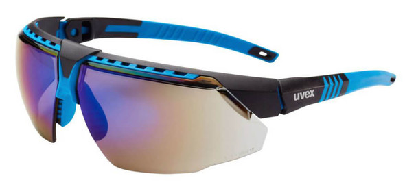 Uvex Avatar Safety Glasses with Blue/Black Frame and Blue Mirror Lens