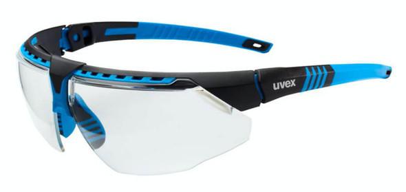 Uvex Avatar Safety Glasses with Blue/Black Frame and Clear Lens