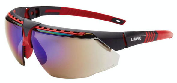 Uvex Avatar Safety Glasses with Red/Black Frame and Blue Mirror Lens
