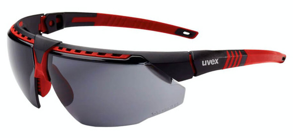 Uvex Avatar Safety Glasses with Red/Black Frame and Gray Hydroshield AF Lens