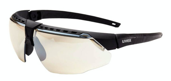 Uvex Avatar Safety Glasses with Black/Black Frame and Reflect-50 Lens