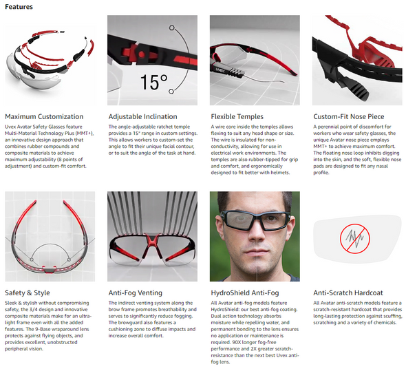 Uvex Avatar Safety Glasses with Black/Black Frame and Gray Hydroshield AF Lens S2851HS Key Features