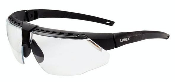 Uvex Avatar Safety Glasses with Black/Black Frame and Clear Hydroshield AF Lens