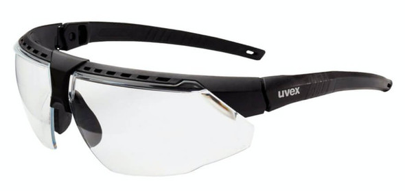 Uvex Avatar Safety Glasses with Black/Black Frame and Clear Lens