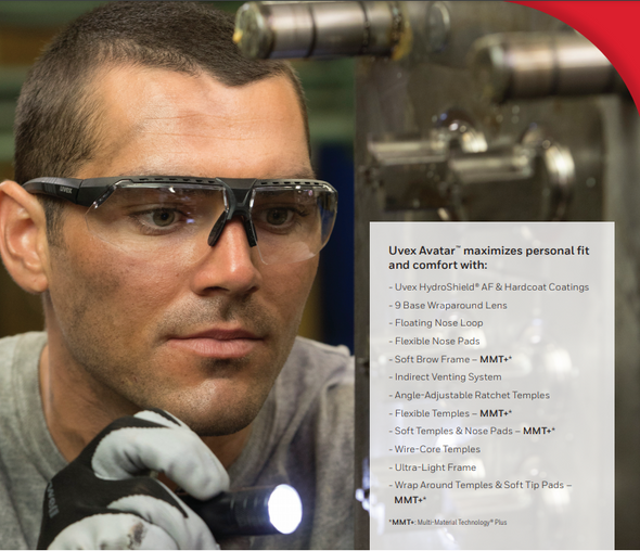Uvex Avatar Safety Glasses with Black/Black Frame and Clear Lens S2850 Model