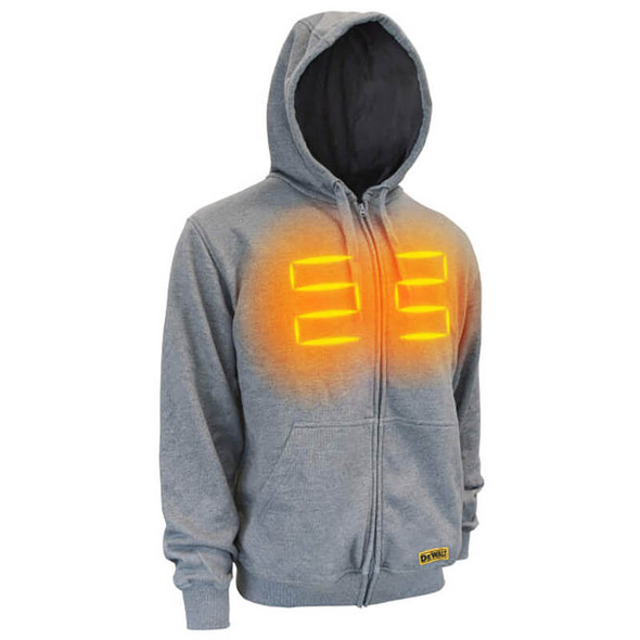 DEWALT DCHJ080B Unisex Heated French Terry Cotton Hoodie Heather Gray Without Battery - with Front Heat Zones