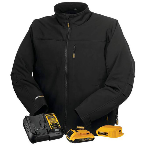 DEWALT Unisex Heated Soft Shell Jacket Black With Battery & Charger