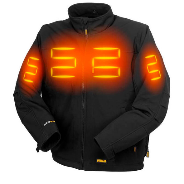 DEWALT Unisex Heated Soft Shell Jacket Black With Battery & Charger - Front View with Heat Zones