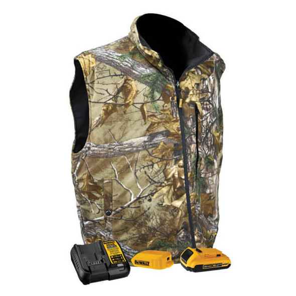 DEWALT Realtree Xtra Camouflage Fleece Heated Vest With Battery & Charger