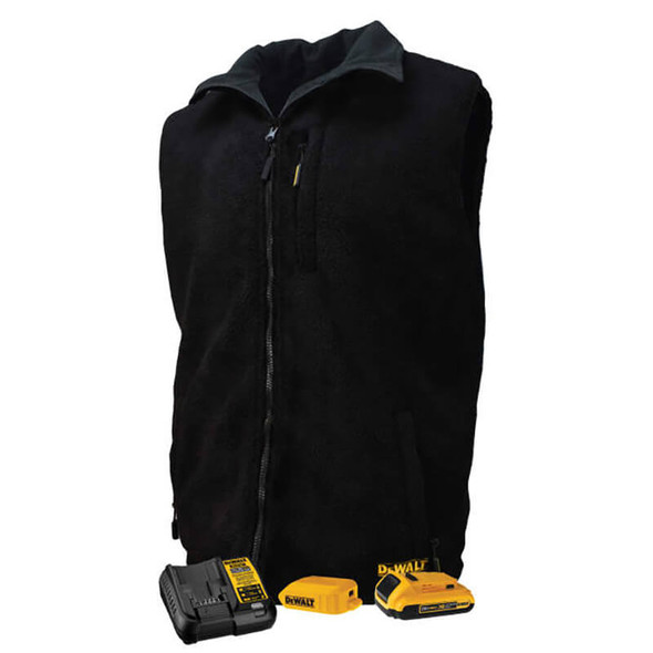 DEWALT Unisex Heated Reversible Fleece Heated Vest With Battery & Charger