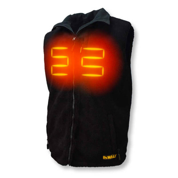 DEWALT Unisex Heated Reversible Fleece Heated Vest With Battery & Charger - Front View with Heated Zones
