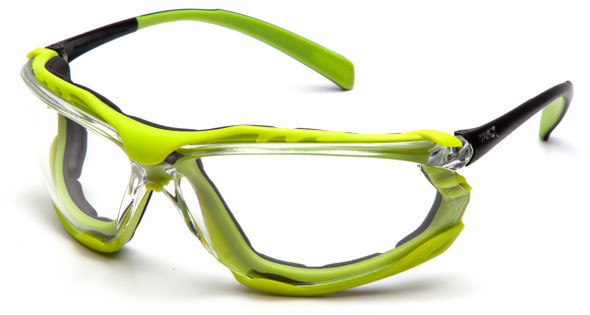 Pyramex Proximity Safety Glasses with Black/Lime Frame and Clear H2MAX Anti-Fog Lens