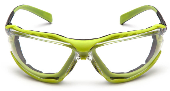 Pyramex Proximity Safety Glasses with Black/Lime Frame and Clear H2MAX Anti-Fog Lens - Front View