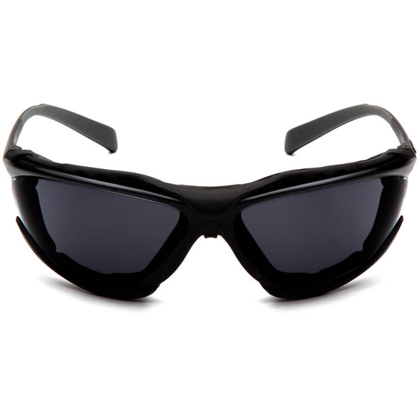 Pyramex Proximity Safety Glasses with Black Frame and Gray H2MAX Anti-Fog Lens - Front View