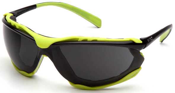 Pyramex Proximity Safety Glasses with Black/Lime Frame and Gray H2MAX Anti-Fog Lens