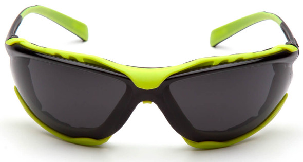 Pyramex Proximity Safety Glasses with Black/Lime Frame and Gray H2MAX Anti-Fog Lens - Front View