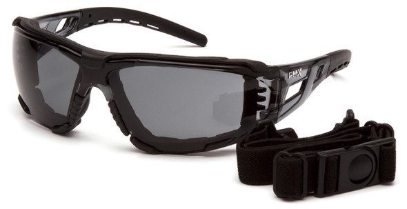 Pyramex Fyxate Foam-Padded Safety Glasses with Black Frame and Gray H2MAX Anti-Fog Lens SB10220STMFP