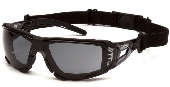 Pyramex Fyxate Foam-Padded Safety Glasses with Black Frame and Gray H2MAX Anti-Fog Lens SB10220STMFP - with Strap