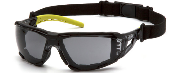 Pyramex Fyxate Foam-Padded Safety Glasses with Black/Lime Frame and Gray H2MAX Anti-Fog Lens SBL10220STMFP - with Strap