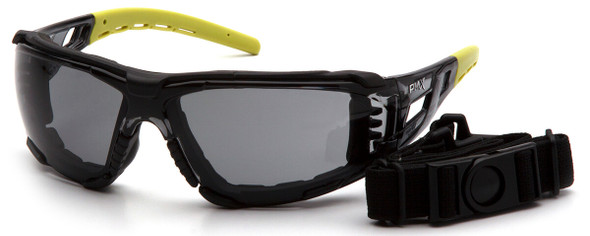 Pyramex Fyxate Foam-Padded Safety Glasses with Black/Lime Frame and Gray H2MAX Anti-Fog Lens SBL10220STMFP