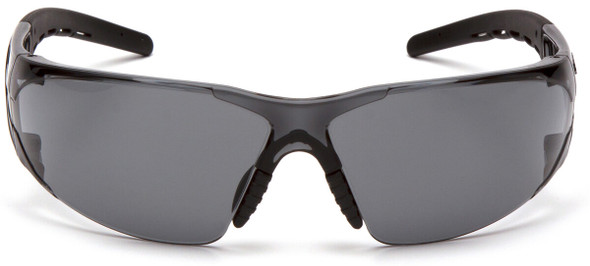 Pyramex Fyxate Safety Glasses with Black Frame and Gray Lens SB10220S - Front View