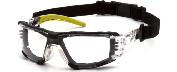 Pyramex Fyxate Foam-Padded Safety Glasses with Clear/Lime Frame and Clear H2MAX Anti-Fog Lens SBL10210STMFP - with Strap