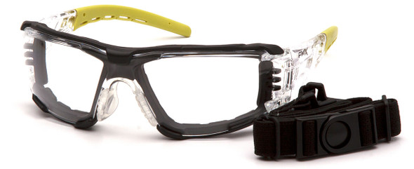 Pyramex Fyxate Foam-Padded Safety Glasses with Clear/Lime Frame and Clear H2MAX Anti-Fog Lens SBL10210STMFP