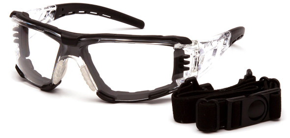 Pyramex Fyxate Foam-Padded Safety Glasses with Clear/Black Frame and Clear H2MAX Anti-Fog Lens SB10210STMFP