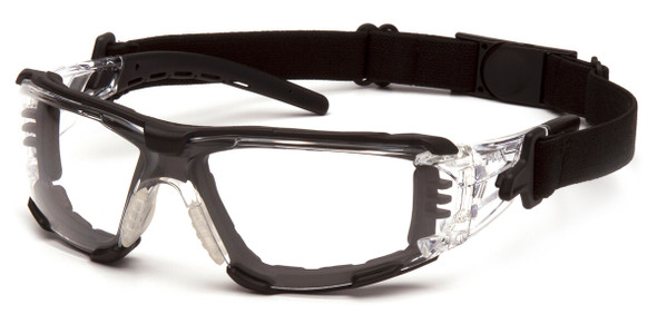 Pyramex Fyxate Foam-Padded Safety Glasses with Clear/Black Frame and Clear H2MAX Anti-Fog Lens SB10210STMFP - with Strap