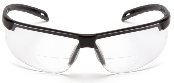 Pyramex Ever-Lite Reader Safety Glasses with Black Frame and Clear H2MAX Anti-Fog Lens - Front View