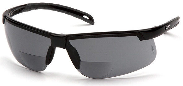 Pyramex Ever-Lite Reader Safety Glasses with Black Frame and Gray H2MAX Anti-Fog Lens