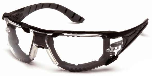 Pyramex Endeavor Plus Foam-Padded Safety Glasses with Black/Gray Temples and Clear H2MAX Anti-Fog Lens SBG9610STMFP