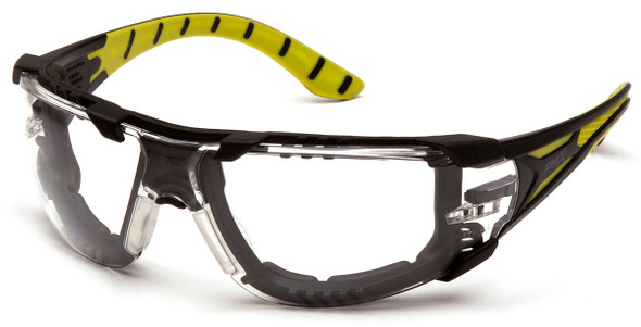 Pyramex Endeavor Plus Foam-Padded Safety Glasses with Black/Green Temples and Clear H2MAX Anti-Fog Lens SBGR9610STMFP
