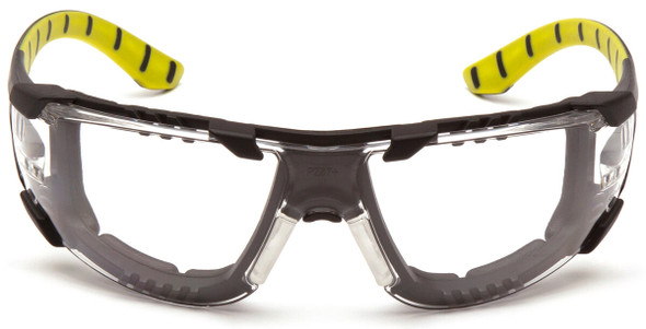 Pyramex Endeavor Plus Foam-Padded Safety Glasses with Black/Green Temples and Clear H2MAX Anti-Fog Lens SBGR9610STMFP - Front View