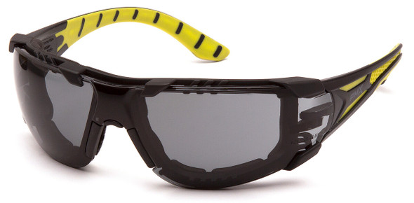 Pyramex Endeavor Plus Foam-Padded Safety Glasses with Black/Green Temples and Gray H2MAX Anti-Fog Lens SBGR9620STMFP