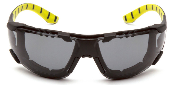Pyramex Endeavor Plus Foam-Padded Safety Glasses with Black/Green Temples and Gray H2MAX Anti-Fog Lens SBGR9620STMFP - Front View