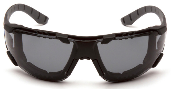 Pyramex Endeavor Plus Foam-Padded Safety Glasses with Black/Gray Temples and Gray H2MAX Anti-Fog Lens SBG9620STMFP - Front View