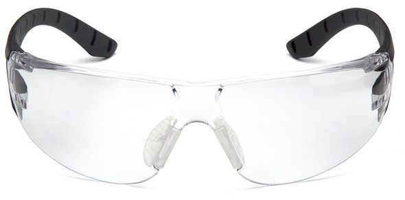 Pyramex Endeavor Plus Safety Glasses with Black/Gray Temples and Clear Anti-Fog Lens SBG9610ST - Front View