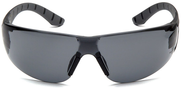 Pyramex Endeavor Plus Safety Glasses with Black/Gray Temples and Gray Anti-Fog Lens SBG9620ST - Front View