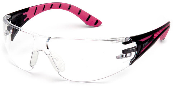 Pyramex Endeavor Plus Safety Glasses with Black/Pink Temples and Clear Anti-Fog Lens SBP9610ST