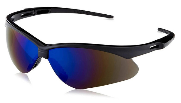 KleenGuard Nemesis Safety Glasses with Black Frame and Blue Mirror Lens
