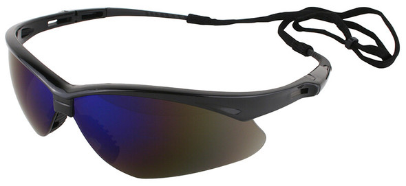 KleenGuard Nemesis Safety Glasses with Black Frame and Blue Mirror Lens 14481