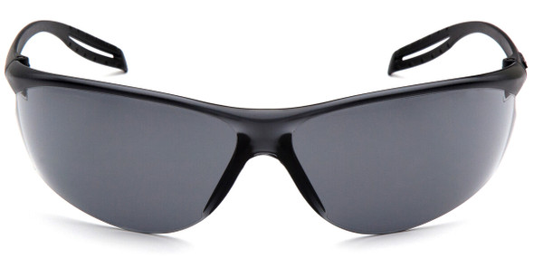 Pyramex Neshoba Safety Glasses with Black Temple and Gray Anti-Fog Lens S9720ST - Front View