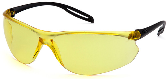 Pyramex Neshoba Safety Glasses with Black Temple and Amber Lens S9730S