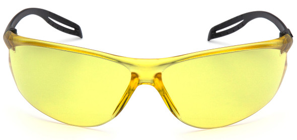 Pyramex Neshoba Safety Glasses with Black Temple and Amber Lens S9730S - Front View