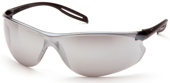 Pyramex Neshoba Safety Glasses with Black Temple and Silver Mirror Lens S9770S