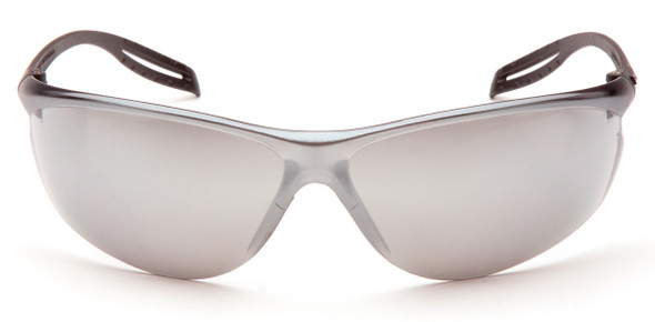 Pyramex Neshoba Safety Glasses with Black Temple and Silver Mirror Lens S9770S - Front View