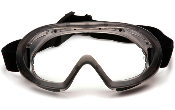Pyramex Capstone Safety Goggles Gray Frame Clear H2MAX Anti-Fog Lens GG504TM - Front View