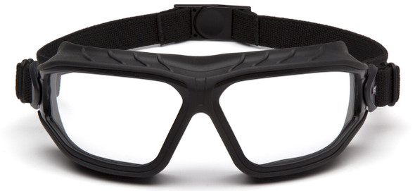Pyramex Torser Safety Goggles with Black Frame and Clear H2MAX Anti-Fog Lens GB10010TM - Front View